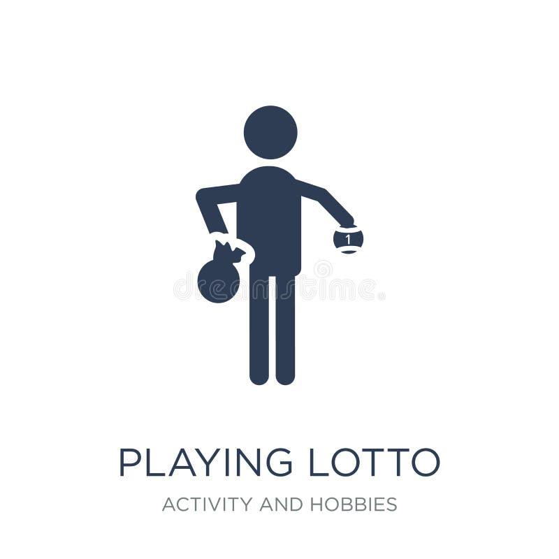 Jogando o ícone do loto Vetor liso na moda que joga o ícone do loto no whi ilustração royalty free
