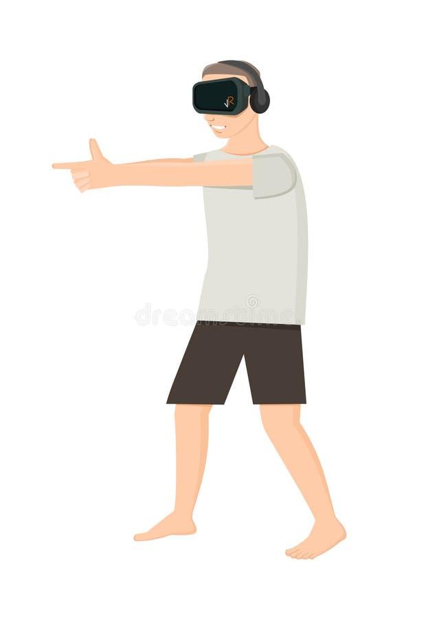 Jogando o atirador na realidade virtual imagem de stock