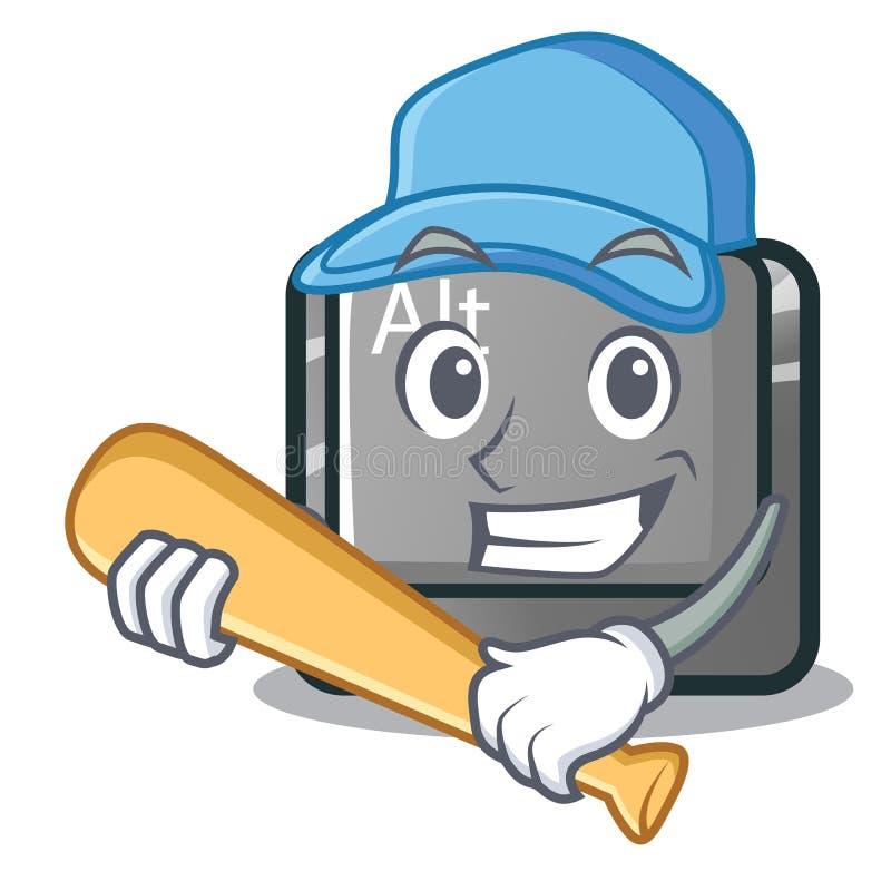 Jogando o botão do alt do basebol na forma dos desenhos animados ilustração do vetor