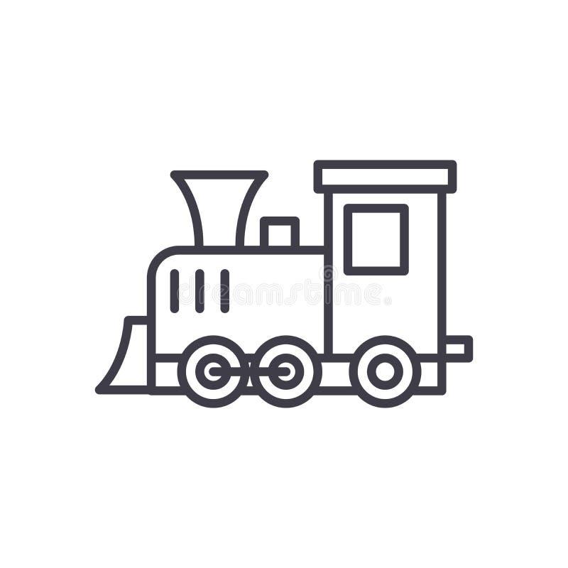Jogando o conceito preto locomotivo do ícone Jogando o símbolo liso locomotivo do vetor, sinal, ilustração ilustração royalty free