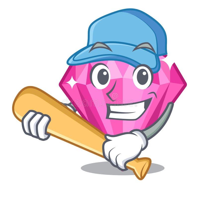 Jogando o diamante cor-de-rosa do basebol acima da tabela da composição do caráter ilustração do vetor