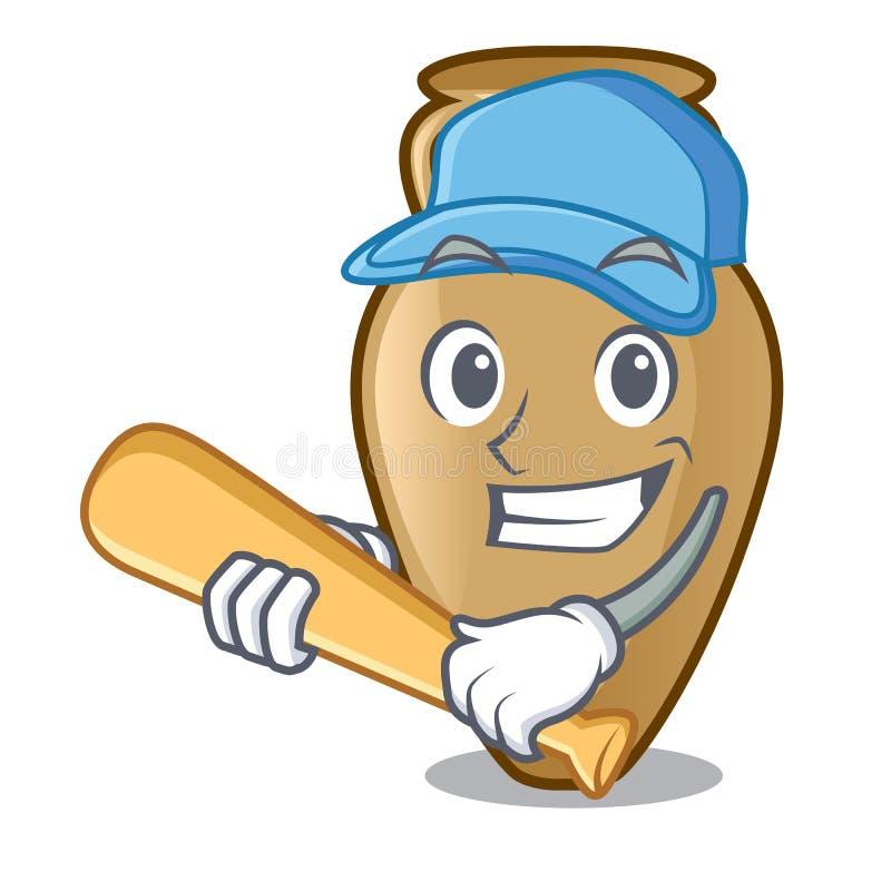Jogando o estilo dos desenhos animados do caráter da ânfora do basebol ilustração do vetor