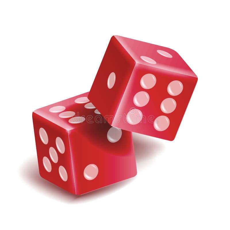 Jogando o grupo do vetor dos dados Ilustração 3D realística de dois dados vermelhos com sombra Jogo dos dados do jogo ilustração stock