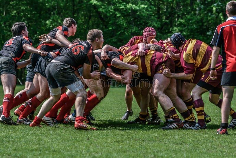 Jogando o rugby foto de stock