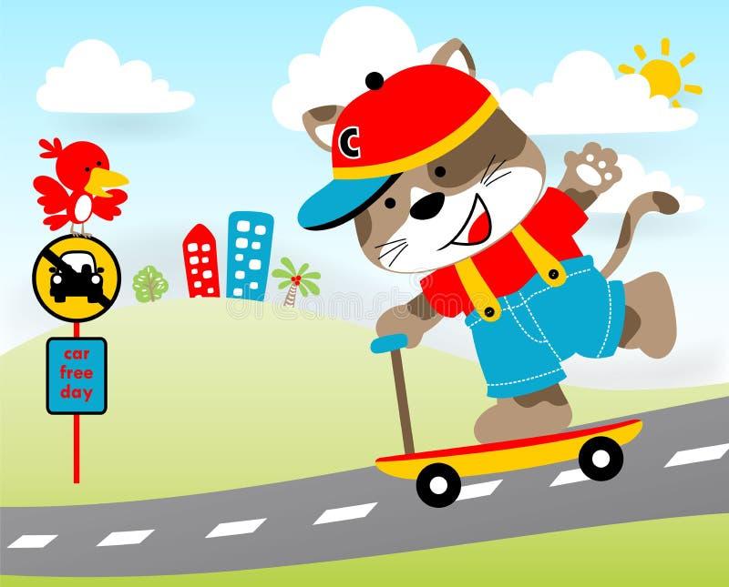Jogando o 'trotinette' na estrada com animais pequenos, ilustração dos desenhos animados do vetor ilustração do vetor