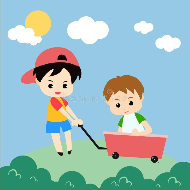Jogando o vetor Art Logo Template da ilustração das crianças e a ilustração ilustração stock