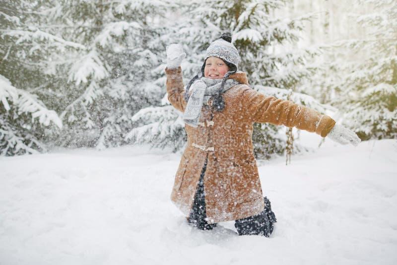 Jogando snowballs foto de stock royalty free