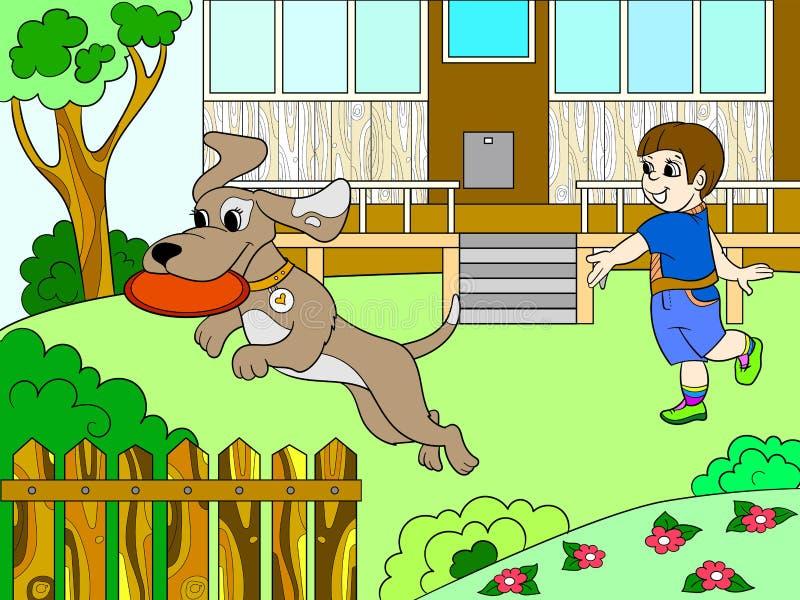 Jogando um menino na natureza com um cão no frisbee colora o livro para o vetor dos desenhos animados das crianças ilustração royalty free