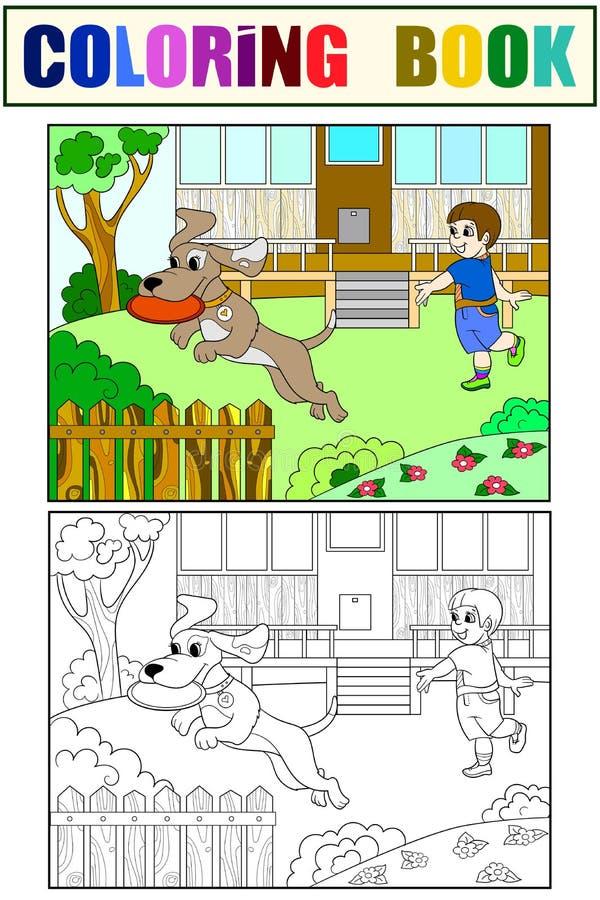 Jogando um menino na natureza com um cão no livro para colorir do frisbee para o vetor dos desenhos animados das crianças Cor, pr ilustração royalty free