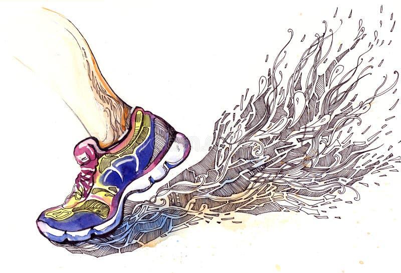 Jogga för sportar stock illustrationer