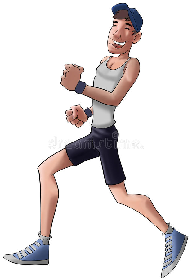 The jogger. Young jogger smiling and running with a hat vector illustration