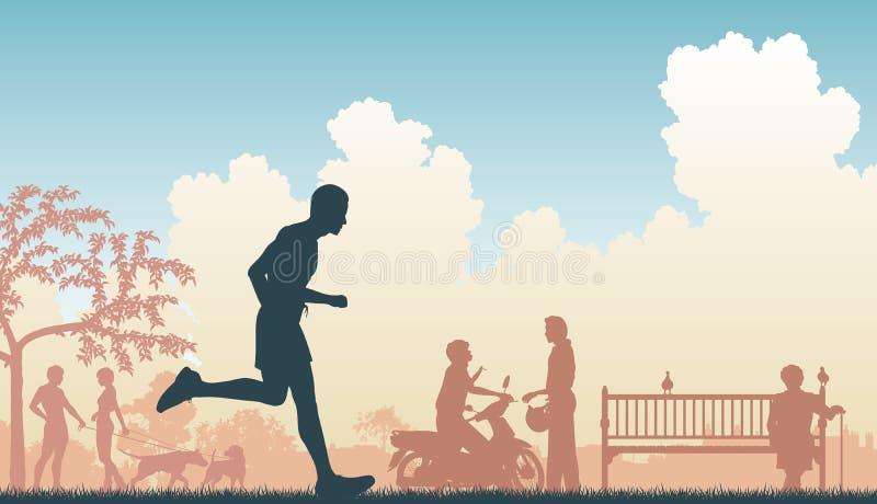 Jogger. EPS8 editable vector illustration of a jogger running through an urban park royalty free illustration