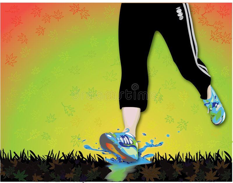 Jogger in fall, over leaves. Female jogger in the fall. NOTE: I acknowledge ownership of all underlying copyrights, for source images used in this illustration stock illustration