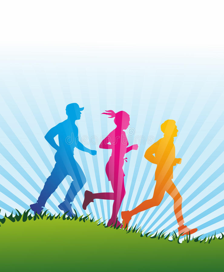 Jogger. A group of jogger as colored silhouette royalty free illustration