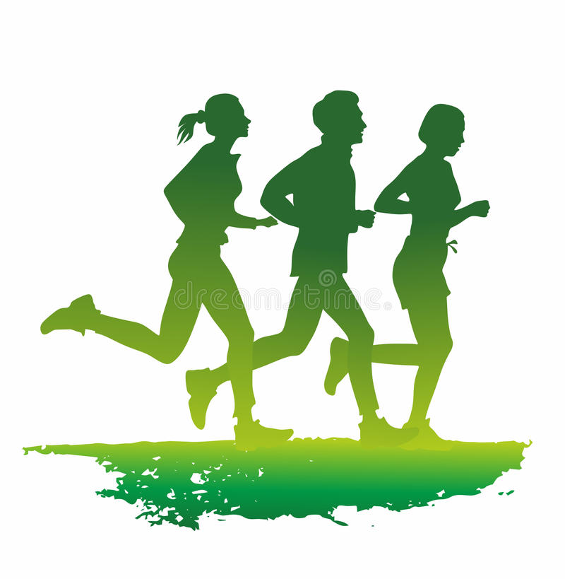 Jogger. A group of jogger as colored silhouette stock illustration