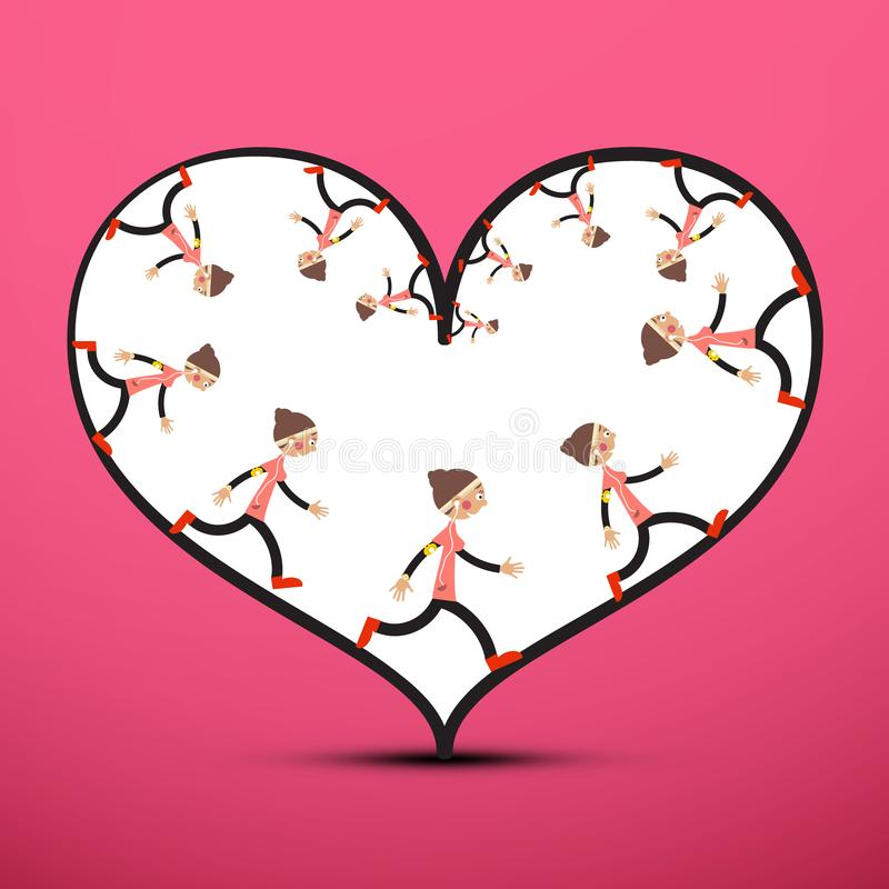 Jogger Inside Heart on Pink Background. Running Woman Vector Illustration. Healthy Lifestyle Concept. Sport Love Icon stock illustration