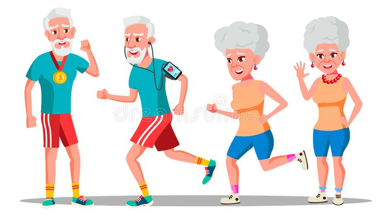 Jogger Old People Vector. Jogger Couple. Active Health Training. Illustration. Jogger Old People Vector. Jogger Couple. Health Training. Illustration stock illustration
