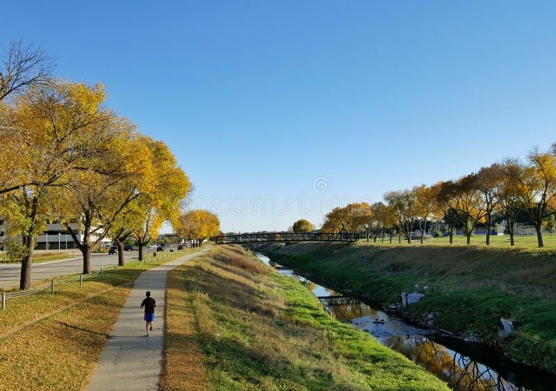 Jogger op een biketrail dichtbij een stroom in de herfst stock foto's