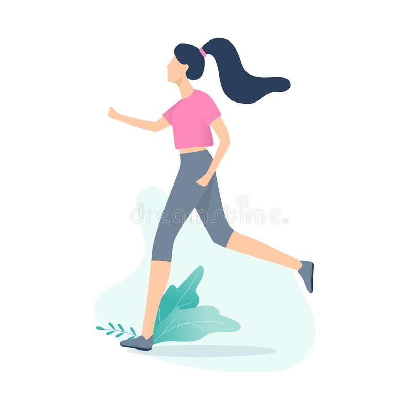 Jogger run. Sport training and exercise for health. Idea of active lifestyle. Isolated vector illustration in cartoon style vector illustration