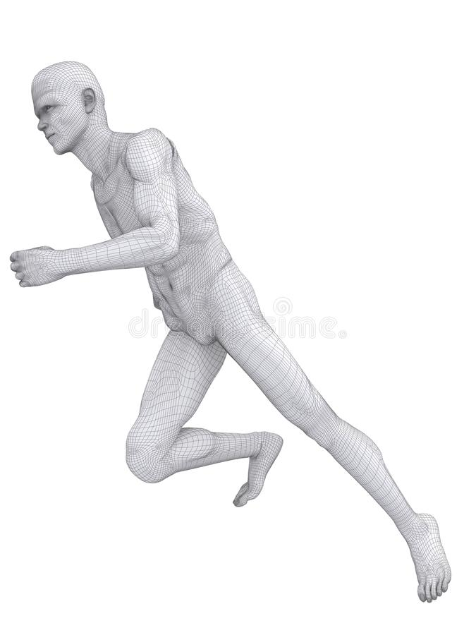 Jogger wireframe. 3d rendered anatomy illustration of a jogger vector illustration