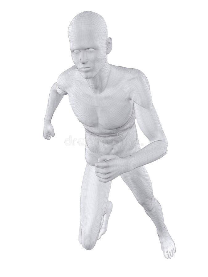 Jogger - wireframe. 3d rendered illustration of a male jogger stock illustration