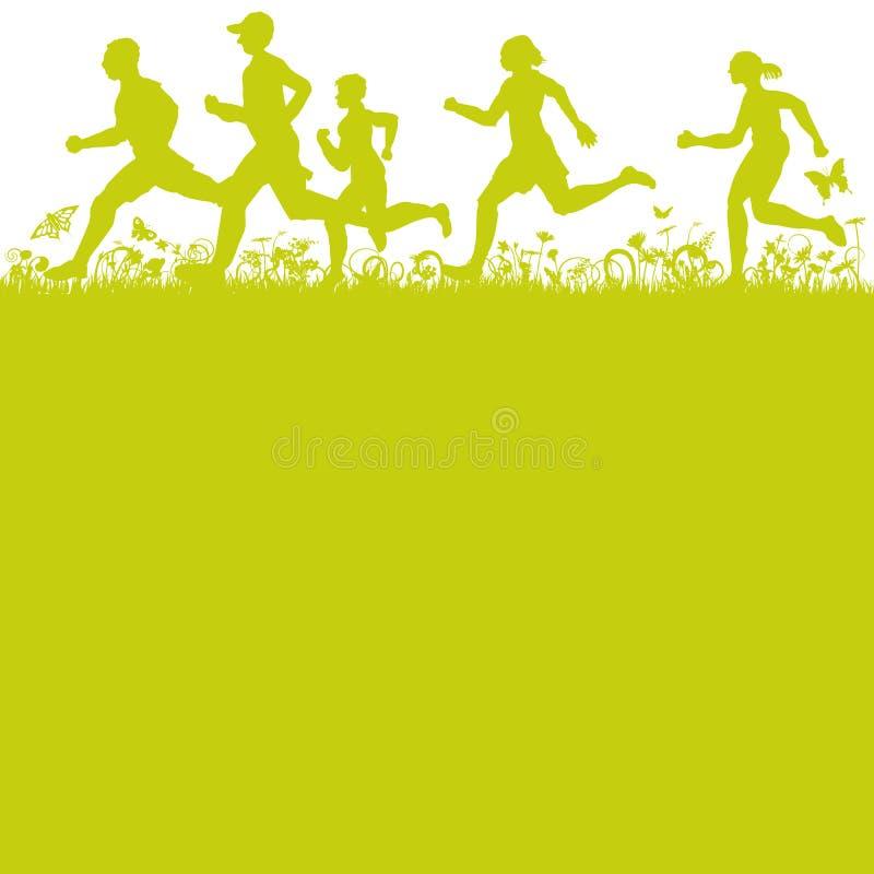 Joggers biega na wiosny łące royalty ilustracja