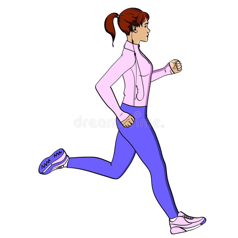 Jogging αντικείμενο αθλητικών κοριτσιών στο άσπρο υπόβαθρο αναδρομικό Μίμηση ύφους κόμικς Στα αθλητικά ενδύματα με τα ακουστικά κ ελεύθερη απεικόνιση δικαιώματος