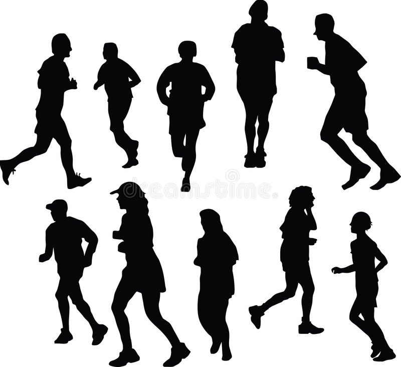 jogging σκιαγραφίες στοκ εικόνα