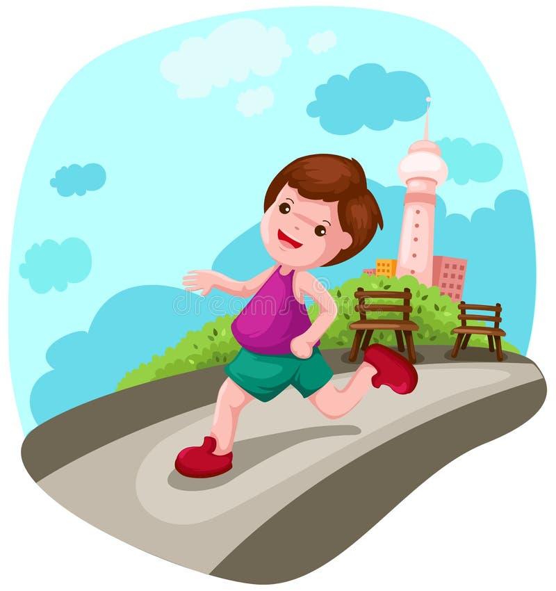 jogging города мальчика иллюстрация вектора