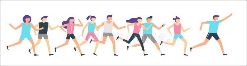 Jogging группа бегунов Ход утра, бег спорта взрослых людей тренируя и на открытом воздухе jog Вектор бегуна фитнеса плоский иллюстрация штока
