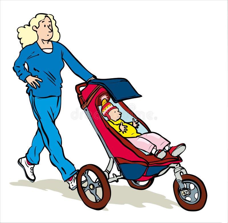 jogging с pram иллюстрация штока