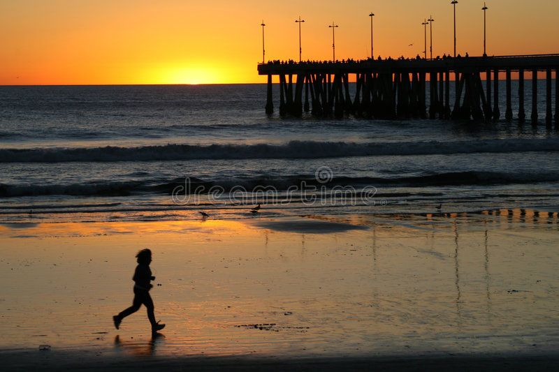 Download Jogging at the beach. stock photo. Image of silhouette - 3912534