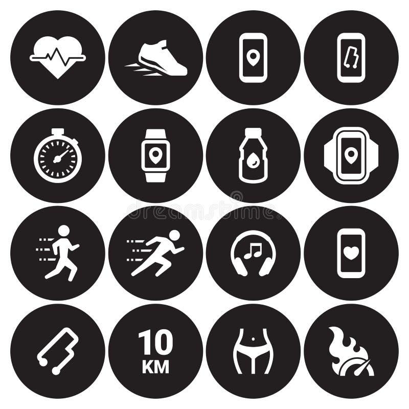 Jogging, biega ludzi ikon ustawiać obrazy royalty free