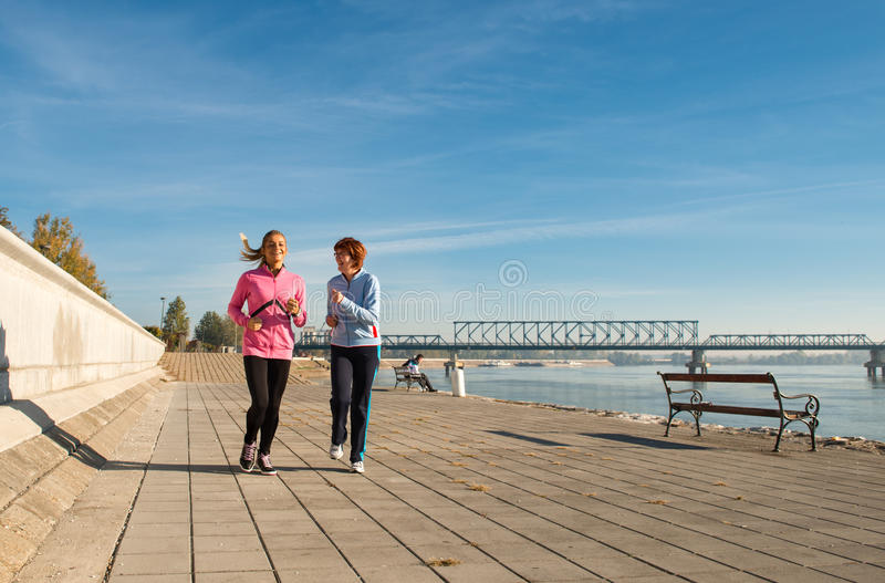 Jogging On Coasts Royalty Free Stock Images