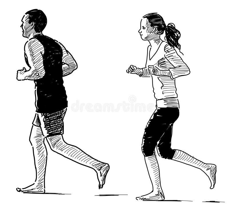 Jogging couple stock illustration