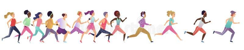 Jogging działający ludzie Sporta bieg grupy pojęcie Ludzie atlety maraphon biegacza rasy, różnorodni ludzie biegaczów royalty ilustracja
