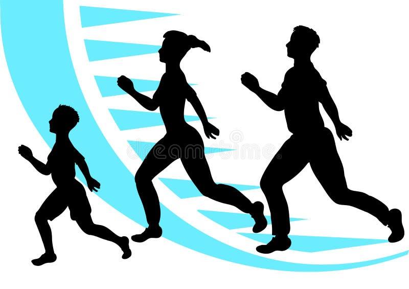 jogging familia del deporte stock de ilustración