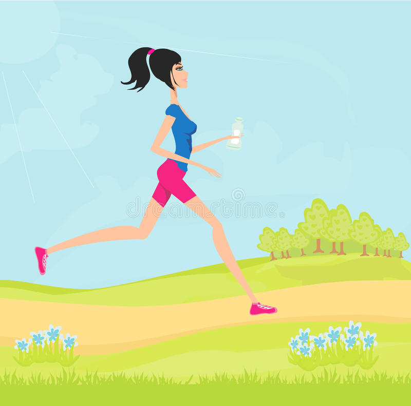 Download Jogging girl in summer stock vector. Image of athlete - 23622177