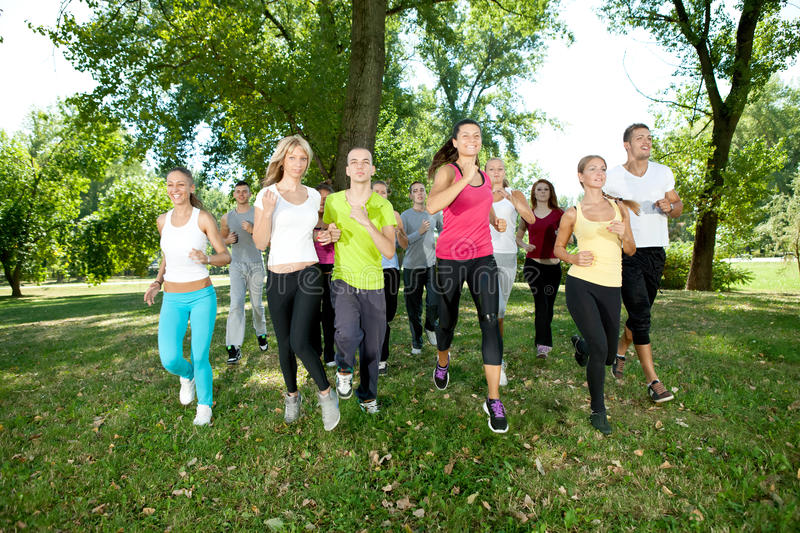 Jogging group stock images