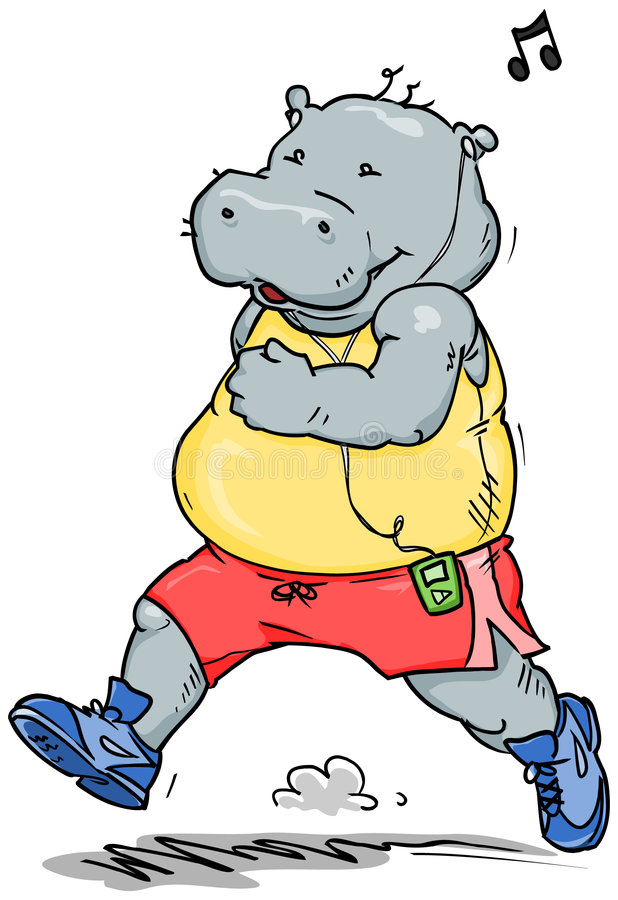 Download Jogging Hippo stock vector. Image of heavy, weight, exercise - 8153945