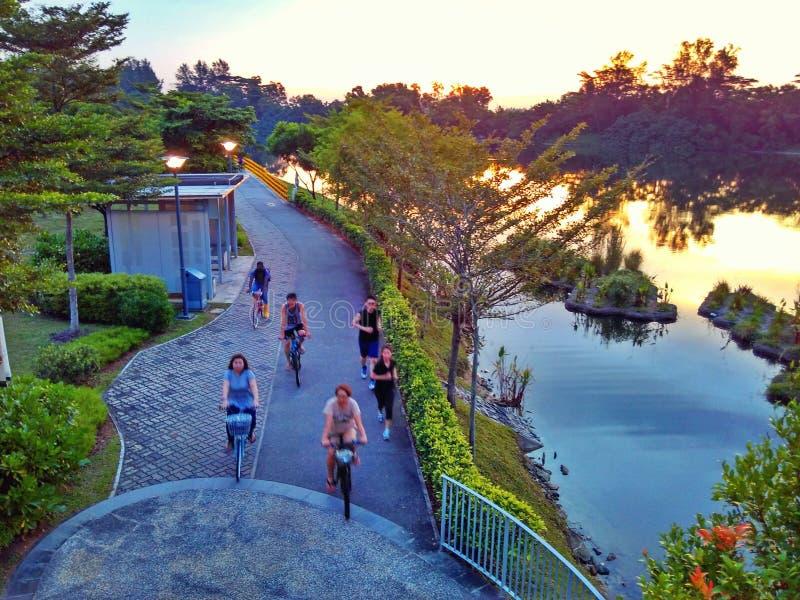 Jogging i jeździć na rowerze w Punggol fotografia stock