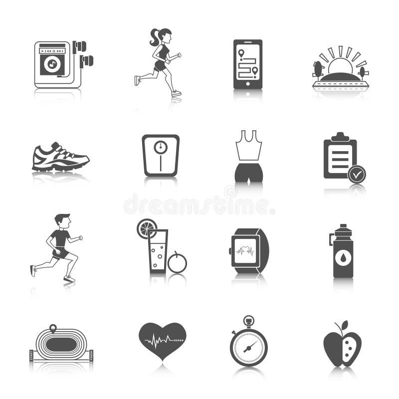 Jogging ikony czerń royalty ilustracja