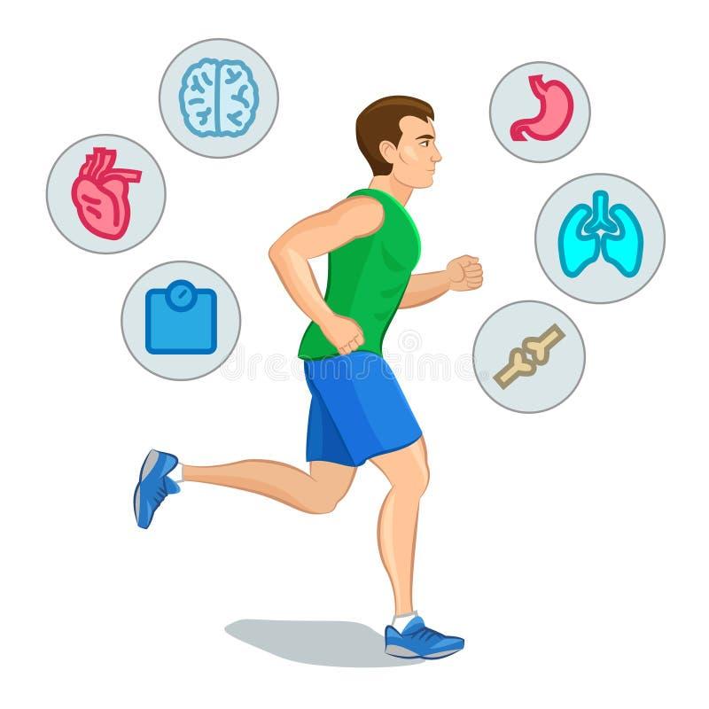 Jogging mężczyzna, biega infographic elementy, strata ciężar cardio t royalty ilustracja