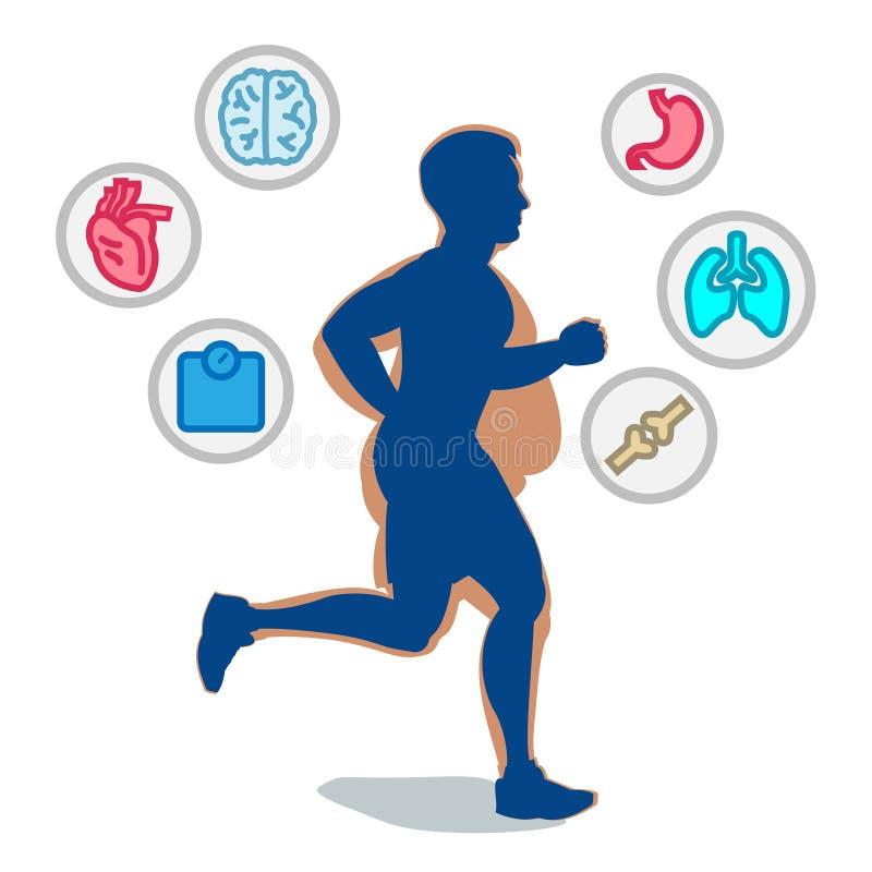 Jogging mężczyzna, biega infographic elementy, strata ciężar cardio tr ilustracja wektor