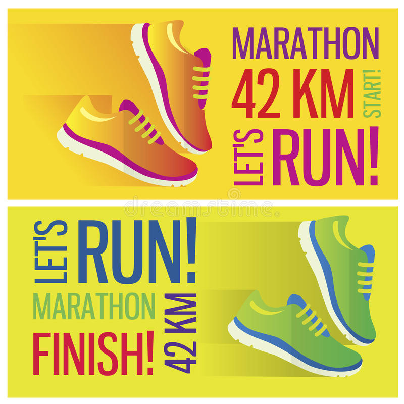 Jogging maratonu pojęcia mieszkania ikonę i biegający ilustracja wektor