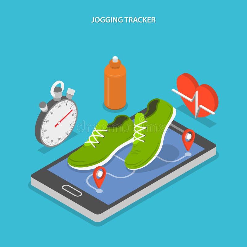Jogging płaskiego isometric pojęcie i biegający ilustracji