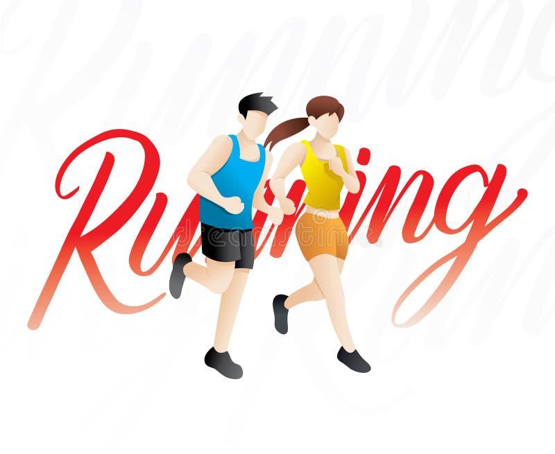 Running men and women illustration vector illustration
