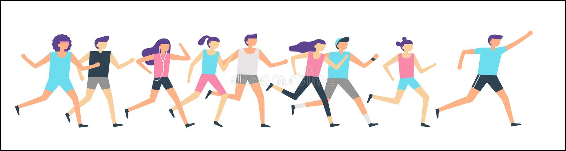 Jogging runners group. Morning running, adult people training sport run and outdoor jog. Fitness runner flat vector stock illustration