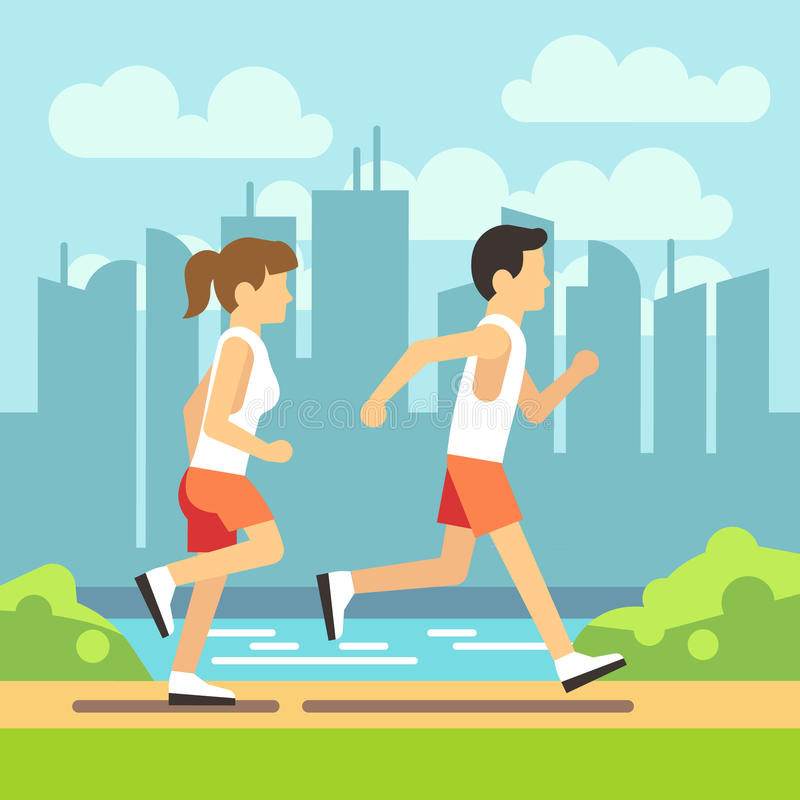 Jogging sport people, athletic running man and woman. vector healthcare concept stock illustration