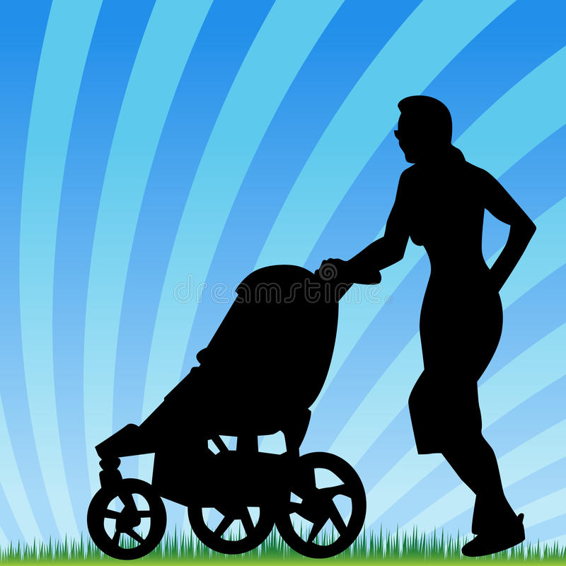 Jogging With Stroller. An image of a parent jogging with stroller vector illustration